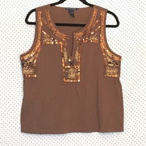 Boston Proper Embellished Sleeveless Cotton Blouse